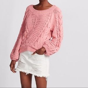 Express Cable Knit Chenille Balloon Sleeve Sweater